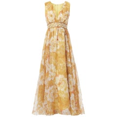 Yellow printed chiffon maxi dress with embellishment, circa 1968