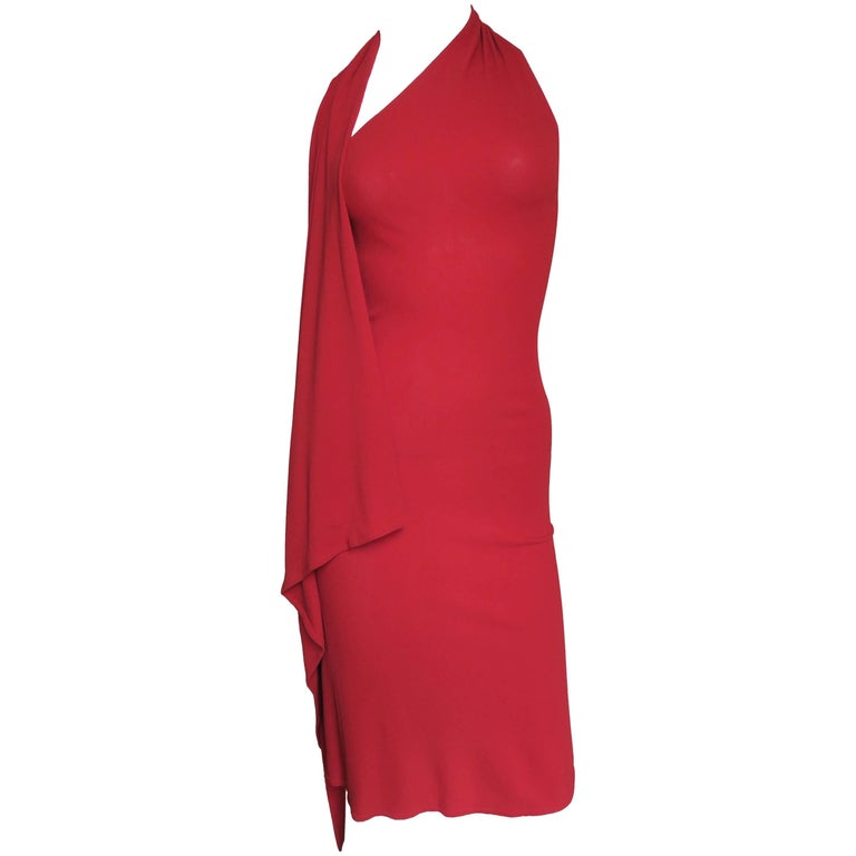 1990s Donna Karan Draped Halter Dress