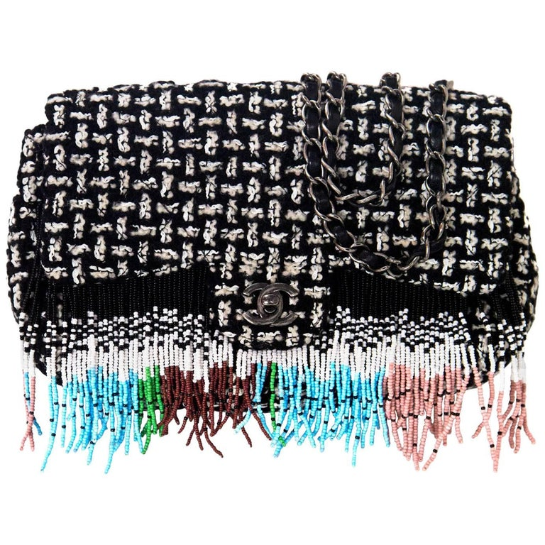 Chanel 2014 Black & White Tweed Paris/Dallas Beaded Fringe Flap Bag rt. $6,700 1