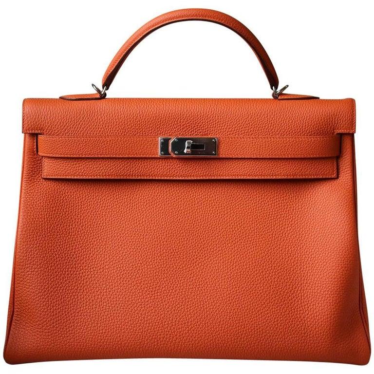 Hermès 40cm Orange With Palladium Hardware Kelly Bag