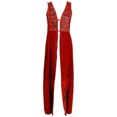 1970's Char Handpainted Red Leather Suede Whipstitch Bohemian Hippie Maxi Vest