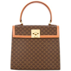 Celine Monogram Cognac Evening Top Handle Satchel Kelly Style Flap Bag