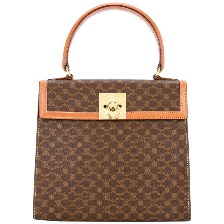 eabe57a3c778 Celine Monogram Cognac Evening Top Handle Satchel Kelly Style Flap Bag For  Sale at 1stdibs