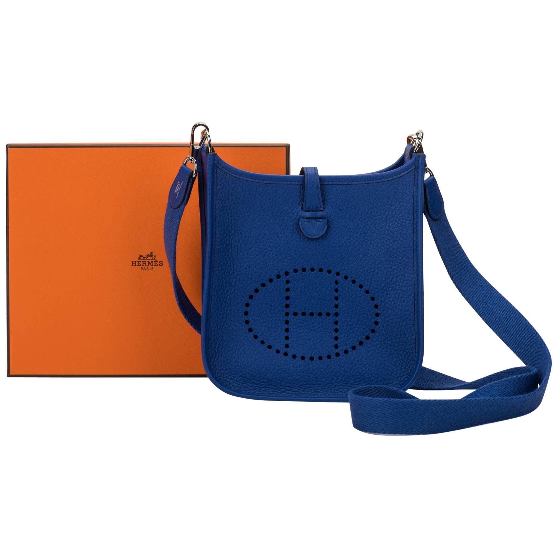 b529bfed7ac5 cheap hermes epsom evelyne b4410 018f5  low price new in box hermes  electric blue mini evelyne crossbody bag f79e0 f6670