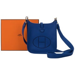 New in Box Hermes Electric Blue Mini Evelyne Crossbody Bag