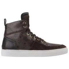 "MCM by MICHALSKY A/W 2012 ""Urban Nomad II"" Brown Leather Monogram Hi Top Sneaker"