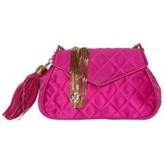 Vintage Chanel Pink Quilted Satin Leather Gold Chain Tassel Shoulder Bag