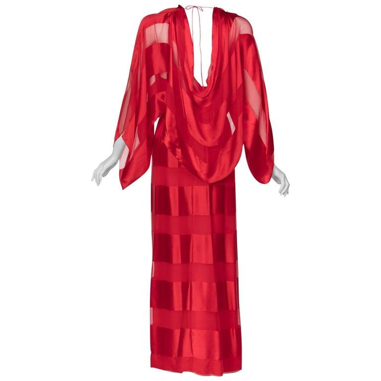 Bill Blass Red Silk Sheer Striped Maxi Column Dress Draped Overlay, 1970s