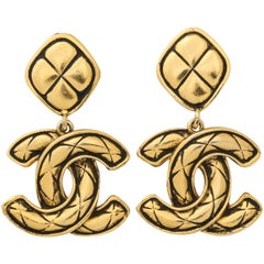 Chanel Clip Earrings with Double C logo