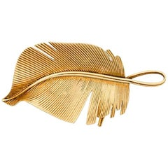 Hermes exceptional leaf brooch 18kt gold c.1960