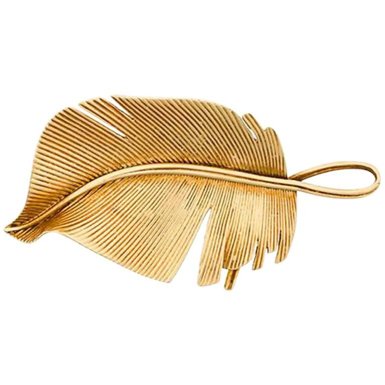 Hermes exceptional leaf brooch 18kt gold c.1960 1
