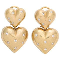 Twin Heart Gold and Diamond Earrings by Michael Gates