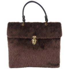 Large C.1950 Brown Faux Fur Handbag