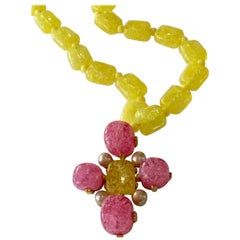 Vrba for Castlecliff Yellow and Pink Composite Resin Pendant Necklace