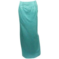 Carolina Herrera Teal Silk Faille Long Skirt - 6