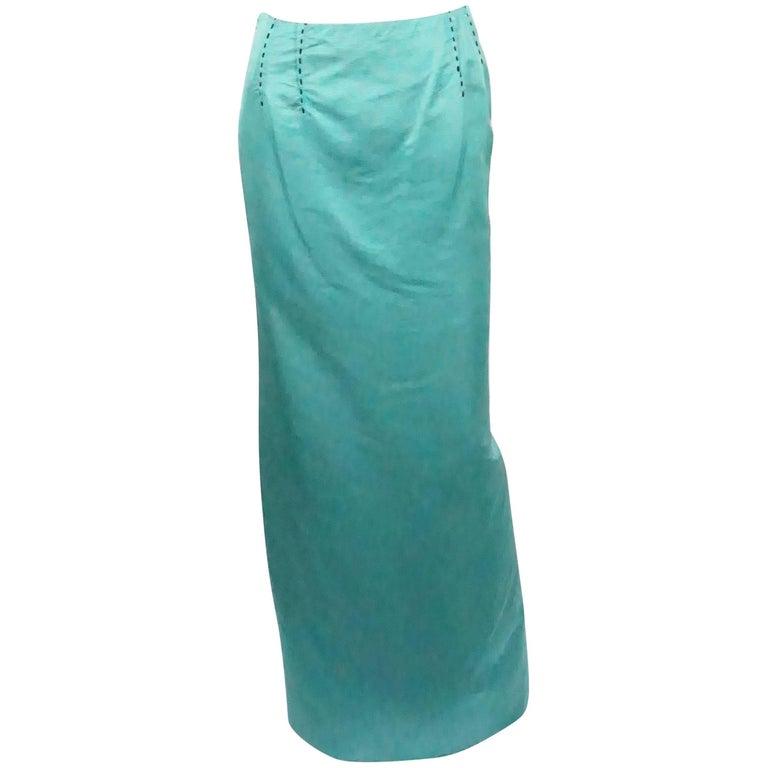 Carolina Herrera Teal Silk Faille Long Skirt - 6