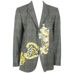 Dries Van Noten Earthone Windowpane Wool Jacket with Embroidered detail-38
