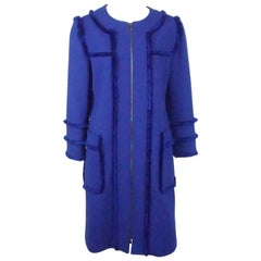 Andrew GN Royal Blue Wool Coat with Fringe - 42