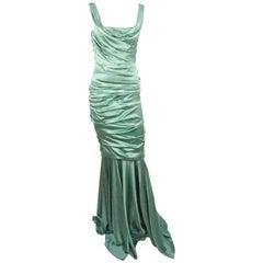 Dolce & Gabbana Seafoam Green Silk Ruched Gown - 42