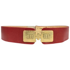 Chanel Coco gold bottles with red leather belt vintage 1980s
