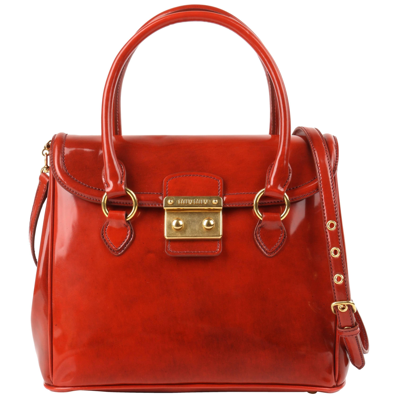 MIU MIU PRADA A/W 2012 Burnt Orange Spazzolato Leather Flap Top Handbag Purse