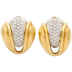 Diamond and Gold Petal Form clip Earrings