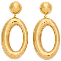 Italian Gold Earrings with Asymmetric Hoops