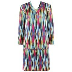 MISSONI c.1990's 2 Pc Multicolor Diamond Knit V Neck Top Skirt Suit Dress Set
