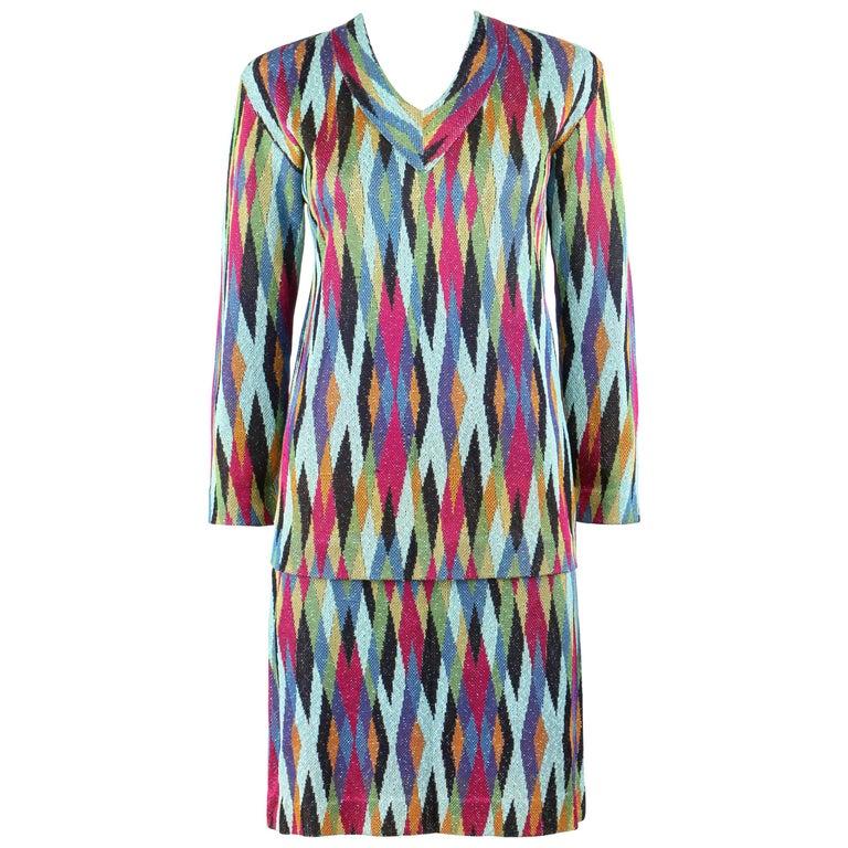 MISSONI c.1990's 2 Pc Multicolor Diamond Knit V Neck Top Skirt Suit Dress Set