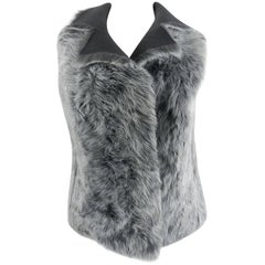 Akris Punto Grey Reversible Lambskin Shearling Fur Vest