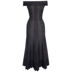 Alexander McQueen Black Lace Jacquard Knit Off Shoulder Dress
