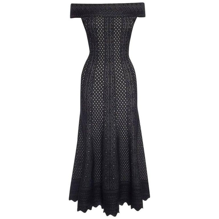 Alexander McQueen Black Lace Jacquard Knit Off Shoulder Dress For Sale