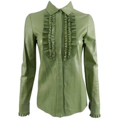 Gucci Spring 2014 Runway Green Leather Ruffle Shirt