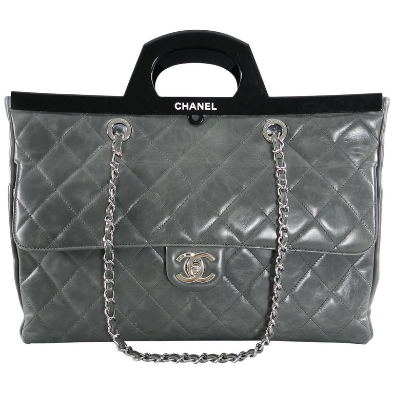 5539c4cc6087 Chanel Fall 2014 Large Grey CC Delivery Shopping Tote Bag at 1stdibs