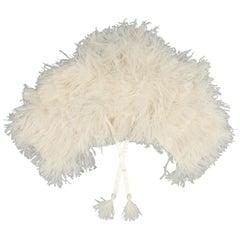 RALPH LAUREN Collection Cream Silk Lined Ostrich Feather Capelet