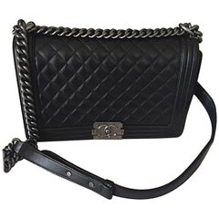 Chanel NEW Medium Boy Bag in Lambskin Leather with Ruthenium Hardware