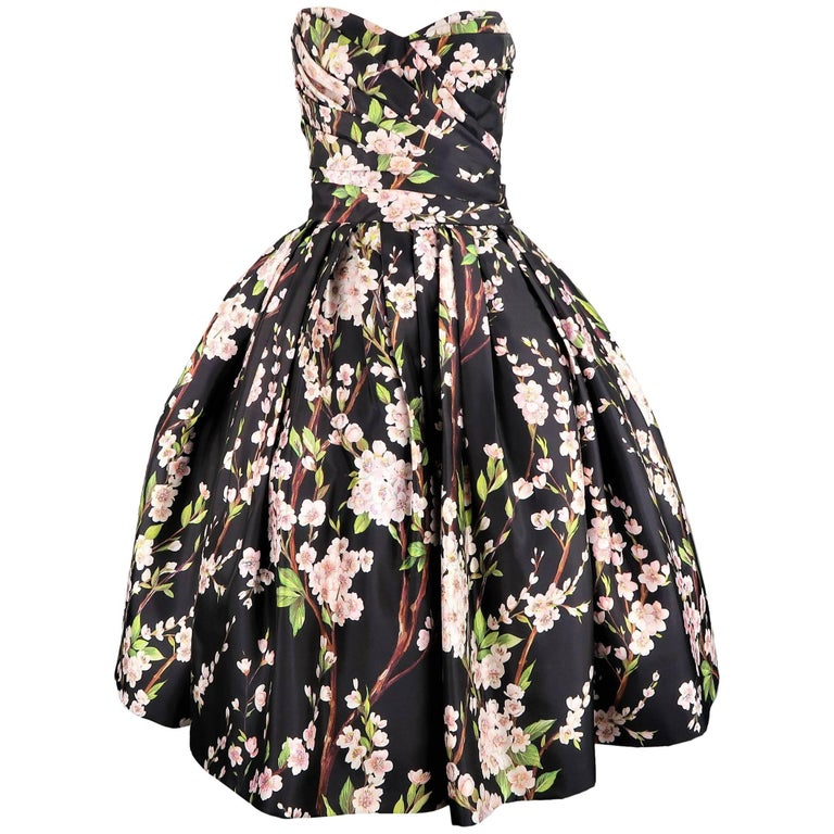 988f622a Dolce & Gabbana Dress - Black Cherry Blossom Cocktail Dress Gown For Sale