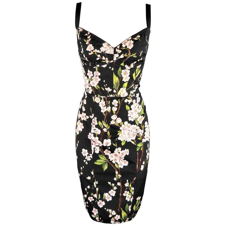 bbf5c363 Dolce & Gabbana Black Cherry Blossom Print Cotton Bustier Sheath Dress For  Sale
