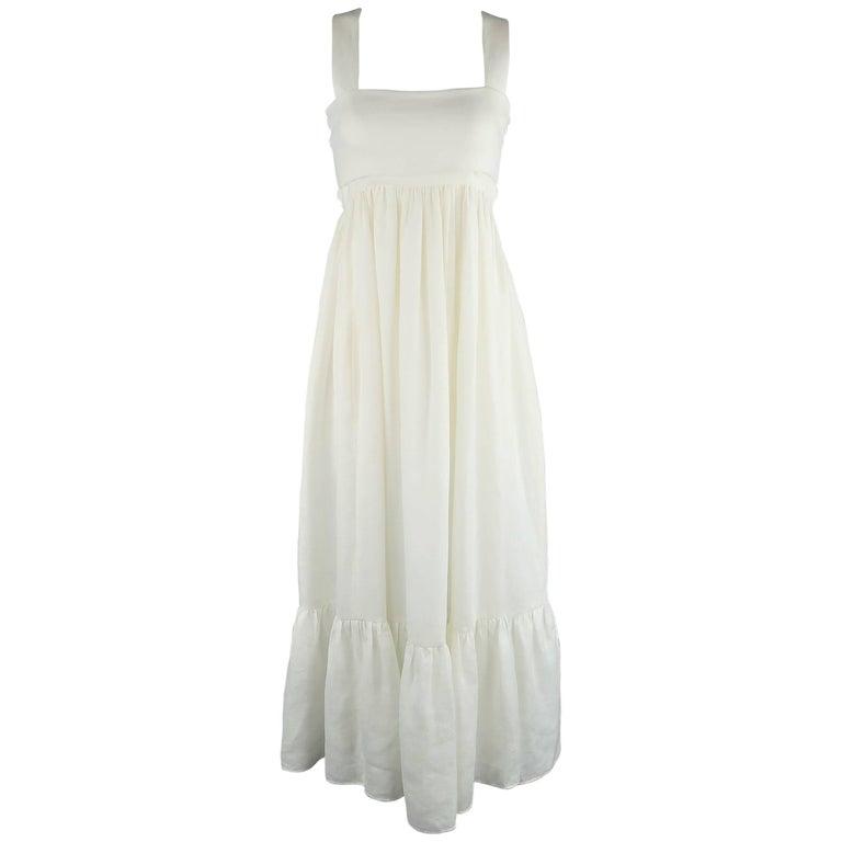 CHLOE Size 2 Cream Linen Cutout Back Bow Peasant Maxi Dress