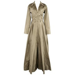 RALPH LAUREN Collection Size 4 Olive Silk Taffeta Sahara Parachute Evening Gown