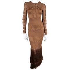 RALPH LAUREN Size M Light Brown Silk Knit Fringe Bodycon Cocktail Dress