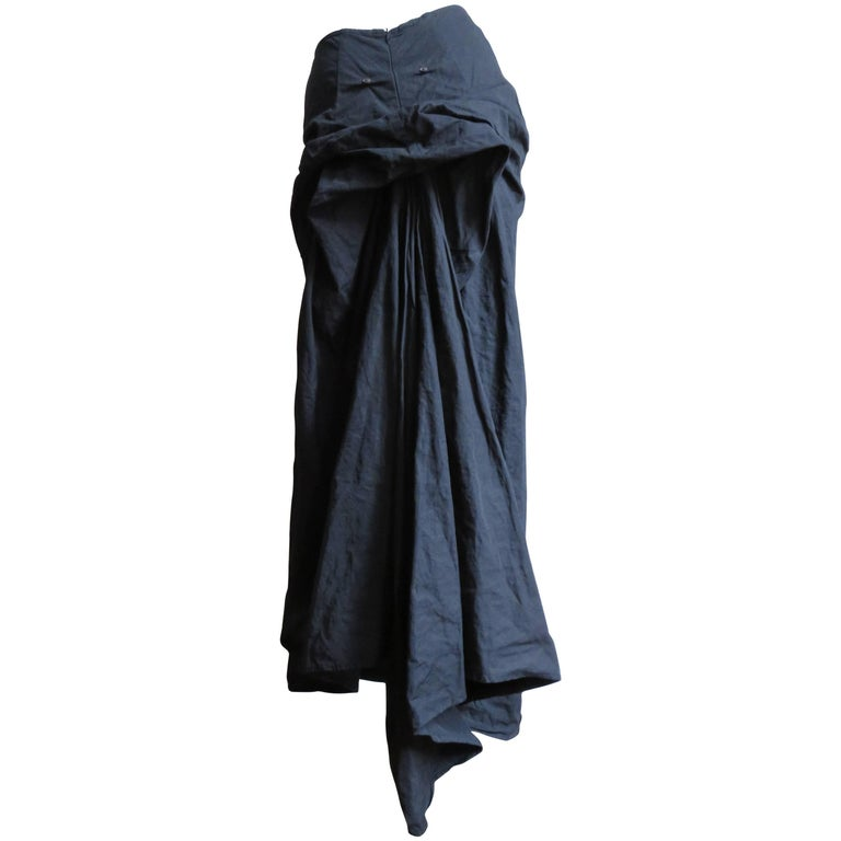 1990s Dries Van Noten Bustle Back Maxi Skirt