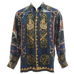 Hermès Men's Printed Silk Button Front Shirt, Circa 1970s