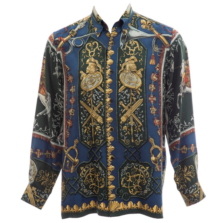 Hermès Men's Printed Silk Button Front Shirt, Circa 1970's
