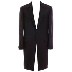 Gianni Versace Couture Men's Black Pinstriped Wool Overcoat, Circa 1990's