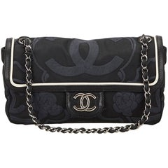 Chanel Navy Camellia Chain Flap Bag