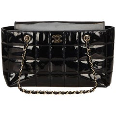 Chanel Black Choco Bar Patent Leather Shoulder Bag