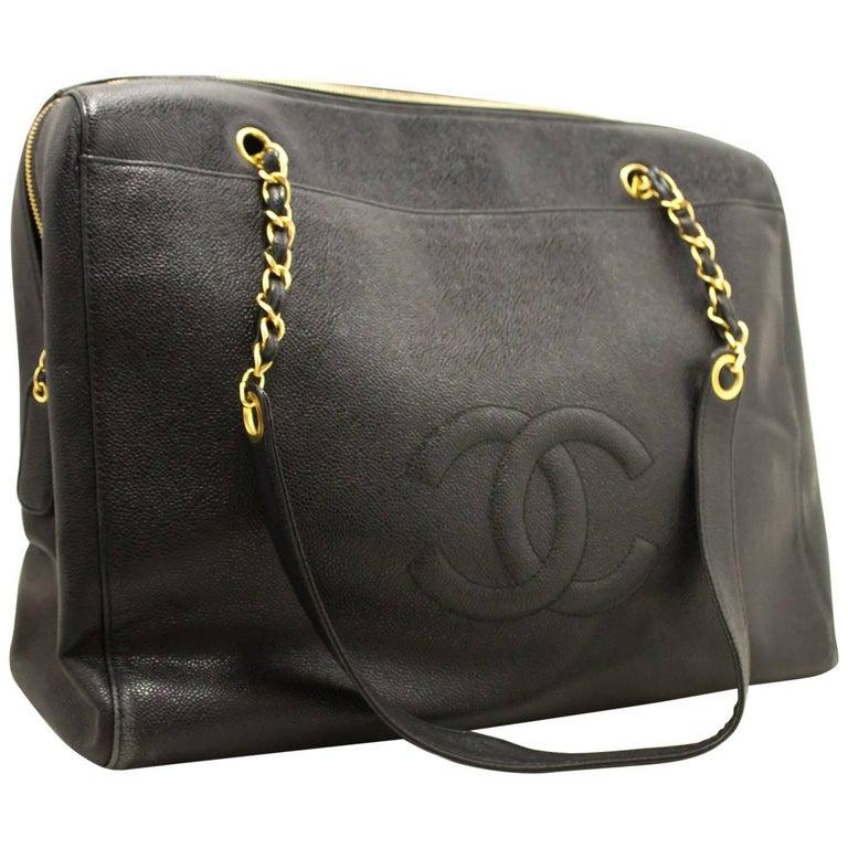 Chanel Jumbo Large Chain Shoulder Bag Black Zip Leather CC