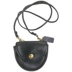 Coach Vintage black leather mini shoulder bag in half moon shape