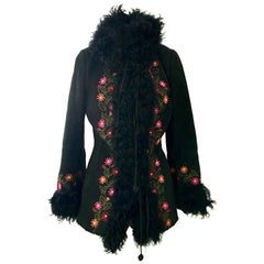 20th Century Shearling & Curly Mongolian Fur Embroidered Coat By, Christia